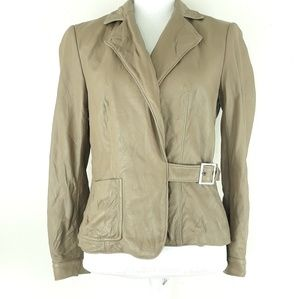 Worth leather jacket Size 4 belted pockets lined